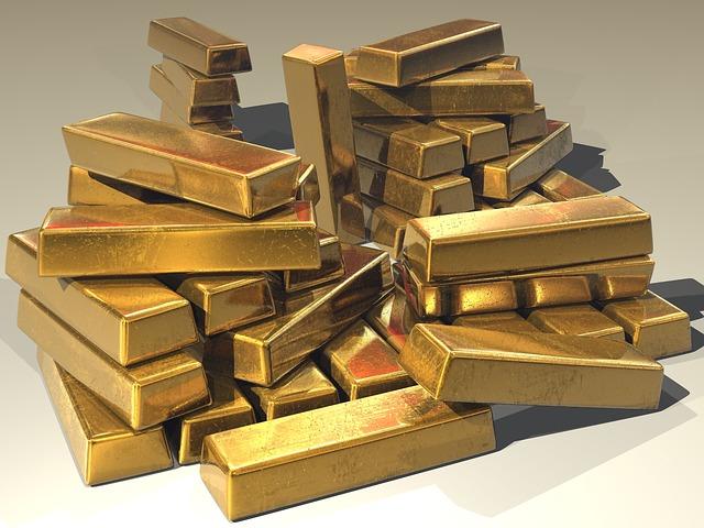 hromada zlatých cihel
